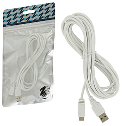 ZedLabz 3M extra long charging cable lead for Nintendo Wii U Gamepad - White Wii U