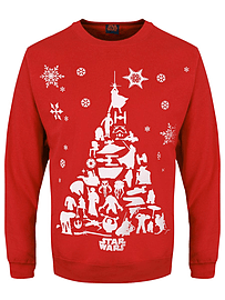 Star Wars Character Tree Christmas Red Men's Sweater: Extra Large (mens 42- 44)Clothing and Merchandise
