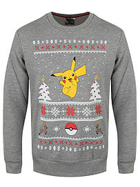 Pokemon Pikachu Christmas Grey Men's PKMN Sweater: Large (Mens 40- 42)Clothing and Merchandise