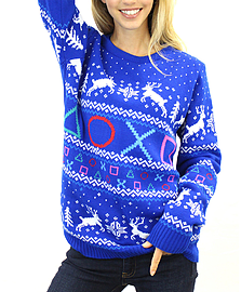 Official Playstation Symbols logo new quality unisex blue Christmas JumperSize: SmallClothing and Merchandise