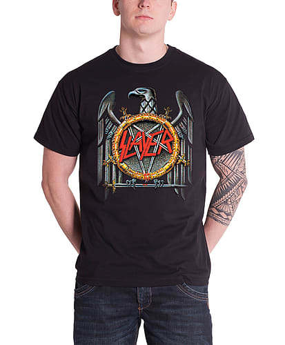 57d3df956cc1 Buy Slayer T Shirt Mens band logo silver Eagle Crossed Swords new Black  OfficialSize: XXL | GAME
