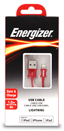 Energizer 1.2 Metre Apple Lightning Connector to USB Cable - Colour: RedAudio