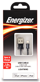Energizer 1.2 Metre Apple Lightning Connector to USB Cable - Colour: BlackAudio