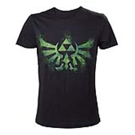 Legend of Zelda Adult Male Distress Green Royal Crest T-Shirt, Medium, BlackClothing and Merchandise