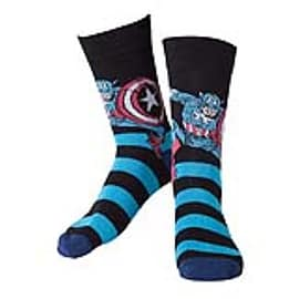MARVEL COMICS Captain America Adult Male Striped Blue Crew Socks, 43/46, Black (CR071006MAR-43/46)Clothing and Merchandise