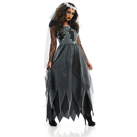 Buy Xxl Black Corpse Bride Costume Ladies Zombie Halloween Fancy