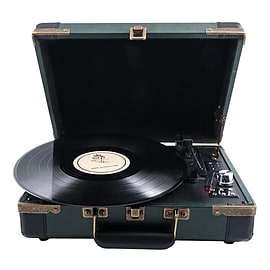 GPO/AMBASSADOR-BKGRN/Portable Record Player/TurntableAudio