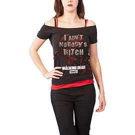 33e0b221ab Buy The Walking Dead T Shirt Nobodys Bitch Official Womens 2in1 Red Ripped  Top Black Size  10