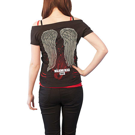 c709817667 The Walking Dead T Shirt Nobodys Bitch Official Womens 2in1 Red Ripped Top  Black Size  10