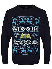 Batman Reindeer Christmas Sweatshirt Navy Men's Sweater: Medium (Mens 38 - 40)Size-M