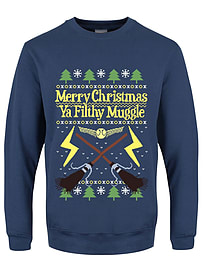 Merry Christmas Ya Filthy Muggle Christmas Jumper Airforce Blue Men's Sweater: Large (Mens 40- 42)Size-L