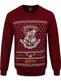 Harry Potter Hogwarts Crest Christmas Jumper Burgundy Men's Sweater: XXL (Mens 44-46)Clothing and Merchandise