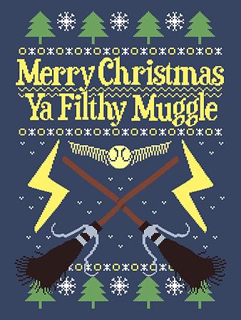merry christmas ya filthy muggle blue mens christmas jumper extra large mens 42 44