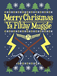 Merry Christmas Ya Filthy Muggle Blue Men's Christmas Jumper: Extra Large (Mens 42- 44) screen shot 1