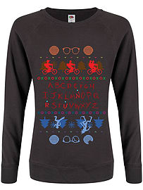 Upside Down Town Christmas Jumper Graphite Grey Women's Sweater: Skinny Fit Large (UK 12 - 14)Size-L