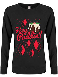 Hey Puddin'! Christmas Jumper Black Women's Sweater: Skinny Fit Large (UK 12 - 14)Size-L