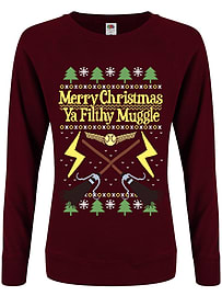Merry Christmas Filthy Muggle Burgundy Women's Christmas Jumper: Skinny Fit Extra Large (UK 14 - 16)Size-XL