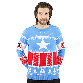 Marvel Official Captain America Christmas Jumper / Sweater - 2X LargeClothing and Merchandise