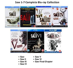 Saw Complete Collection Part 1 -7 Blu ray Movies 1 2 3 4 5 6 7Blu-ray