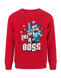 Minecraft Like A Boss Boy's Sweatshirt (7-8 Years)Clothing and Merchandise