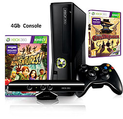 Xbox 360 4GB Slim black Console with Kinect Sensor: Includes Kinect Adventures & Gunstringer GamesXbox 360