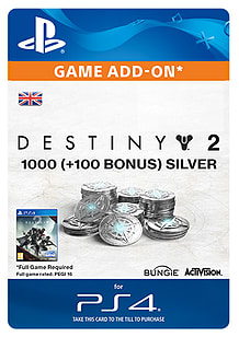 1000 (+100 Bonus) Destiny 2 Silver for PS4
