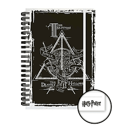 Harry Potter Notebook Deathly Hallows Graphic new Official Black A5 90 Page Size:Stationery