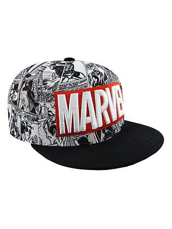 f88d68c458b92 Marvel Comics Classic Logo Black   White Snapback Cap  One size Fits All