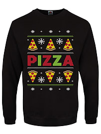 Men's Pizza Party Black Christmas Jumper: Large (Mens 40- 42)Clothing and Merchandise