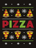 Men's Pizza Party Black Christmas Jumper: Large (Mens 40- 42) screen shot 1
