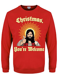 Men's You're Welcome! Christmas Sweater Red: Small (Mens 36 - 38)Clothing and Merchandise
