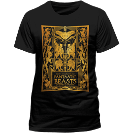 Fantastic Beasts - Book Cover Gold Foil T-Shirt - Large