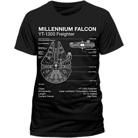 Star Wars - Millennium Falcon Blueprint T-Shirt - Large